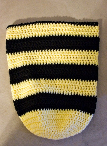 Crocheted Bumble Bee Newborn Cocoon.