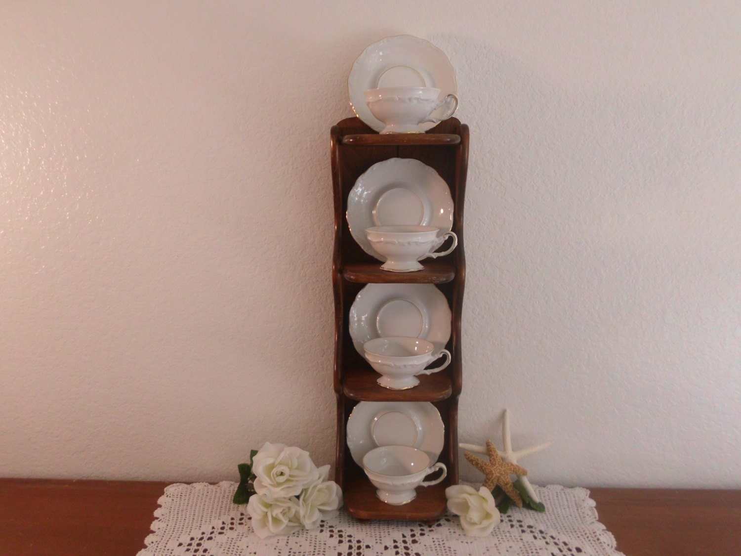Vintage Tea Cup And Saucer Display Stand And By