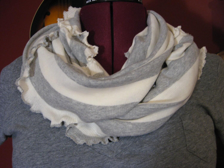 Infintiy scarf  in grey heather stripe 100% ORGANIC COTTON