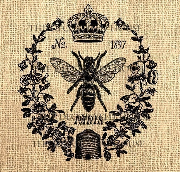 Vintage Queen Bee Digital.  Printable DOWNLOAD. for Iron On  Transfer, for Burlap to Cotton. for  Pillows, Totes, Bags, T-Shirts, Tea  Towels, Napkins. Art Prints and More. by The Decorated House