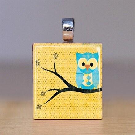 Handmade Scrabble Tile Pendant - Owl