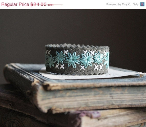 Birthday Sale - Cuff Bracelet - Olive Green Felt with Aqua and Ivory Stitching - lovemaude