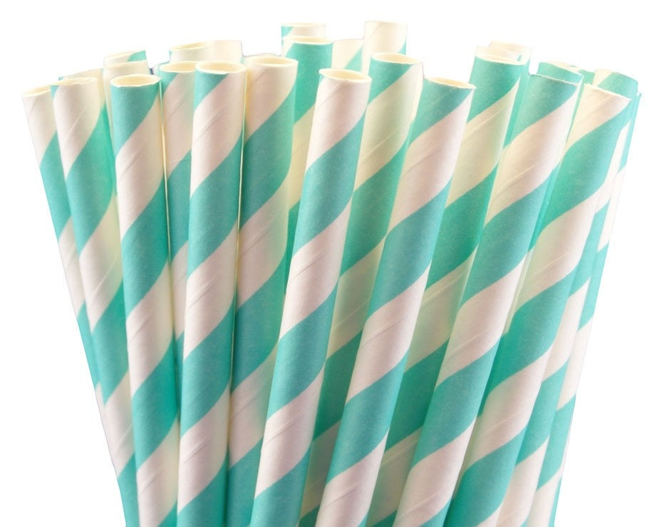 Tiffany Blue Robins Egg Striped Paper Straws w/PDF - BonFortune