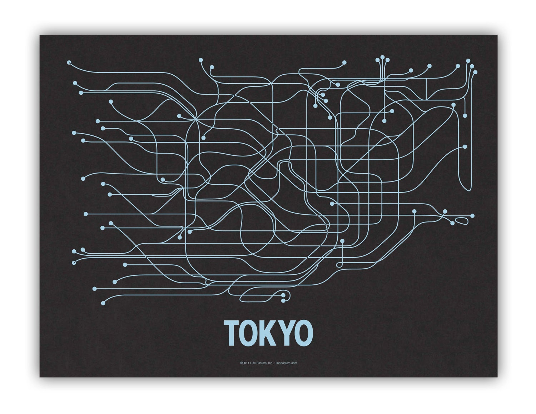 Tokyo Lineposter Screen Print - Black/Metallic Blue