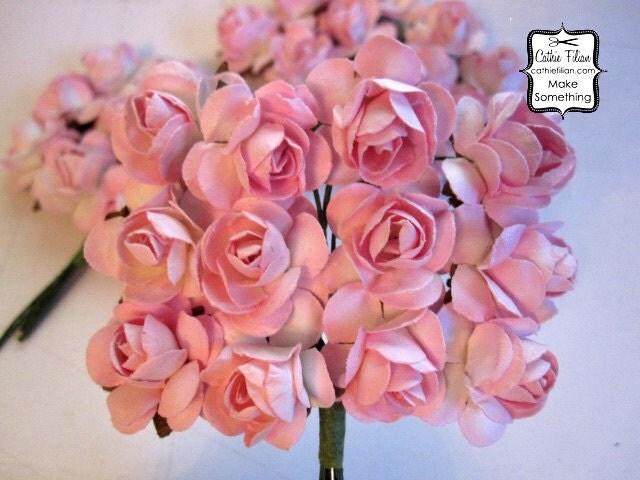 36 малых - пастельный розовый бумажные цветы - мини-букет - нежности