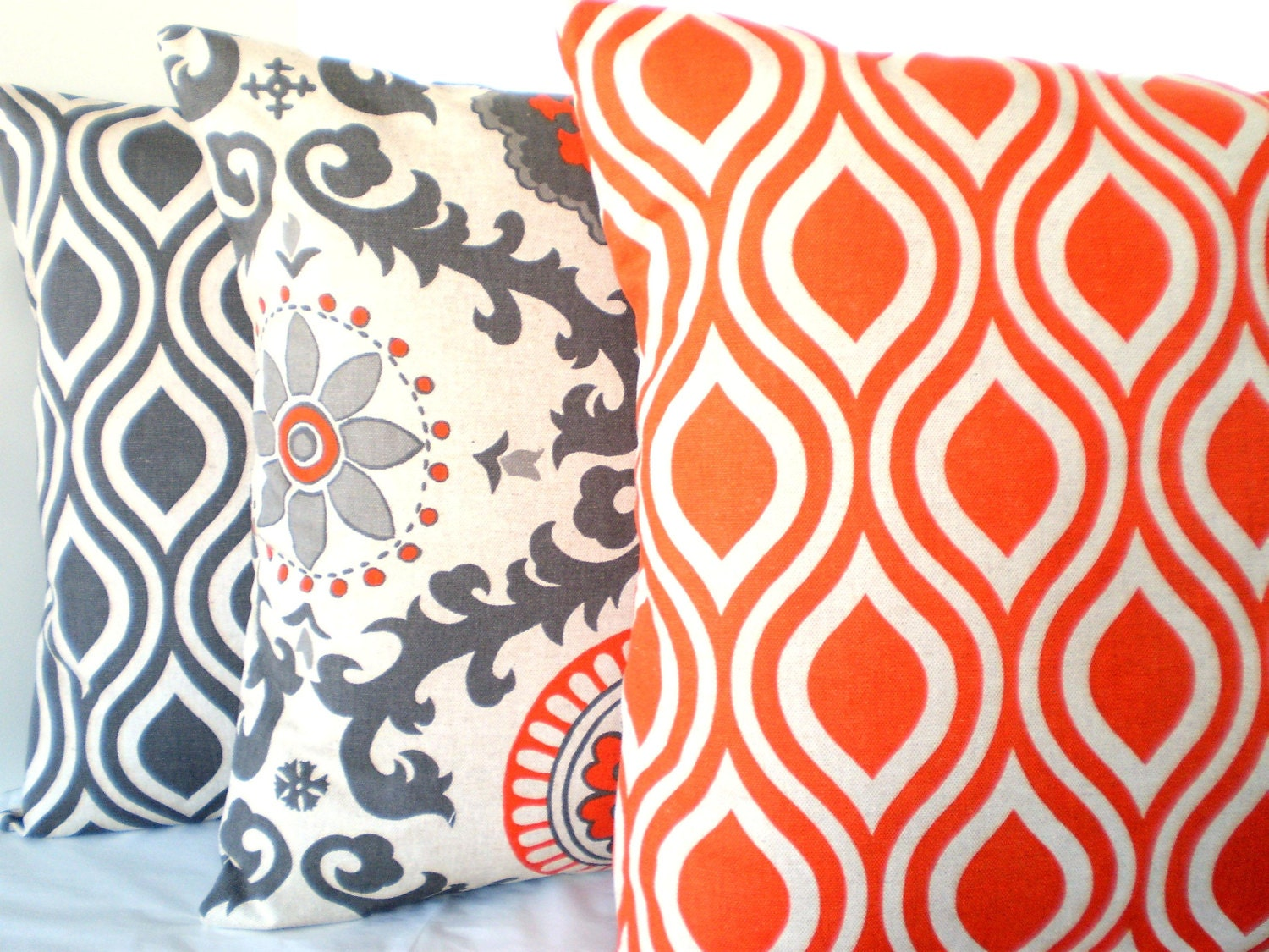 Decorative Throw Pillows Cushion Covers Gray Orange Natural BOTH SIDES - Combo Set of Three 18 x 18