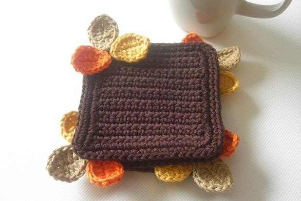 Wood Leaves Coasters . Orange Cream Beige Yellow Brown Chocolate Cocoa Coffee Decor Crochet Cute Collection - Set of 4