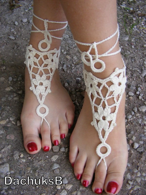 Hand crocheted sexy barefoot lace sandals in ivory color made from pure cotton yarn