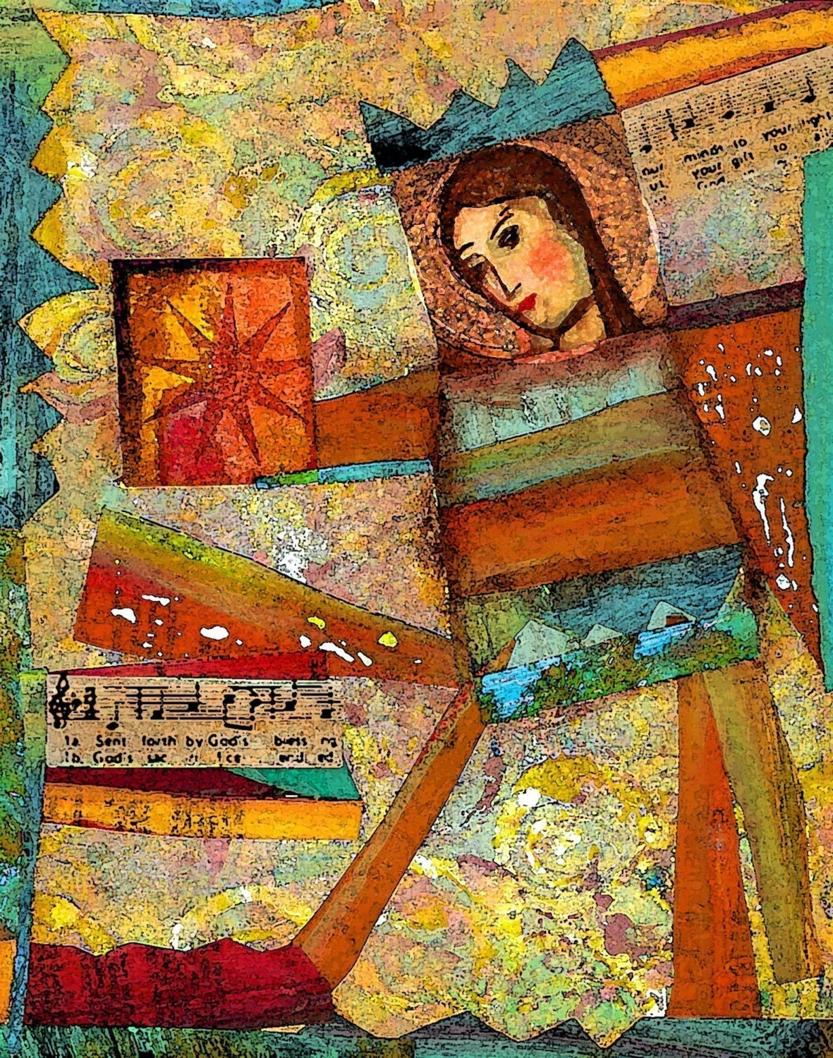 The Gift ORIGINAL Mixed Media Collage Print