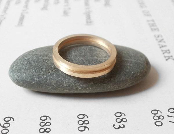 9ct yellow gold wedding ring, stacking ring, handmade in England, 9k yellow gold ring, ONE ring - huiyitan