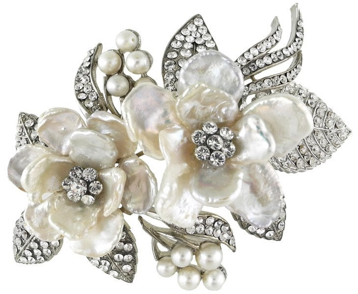 Bridal Double Pearl Flower Comb