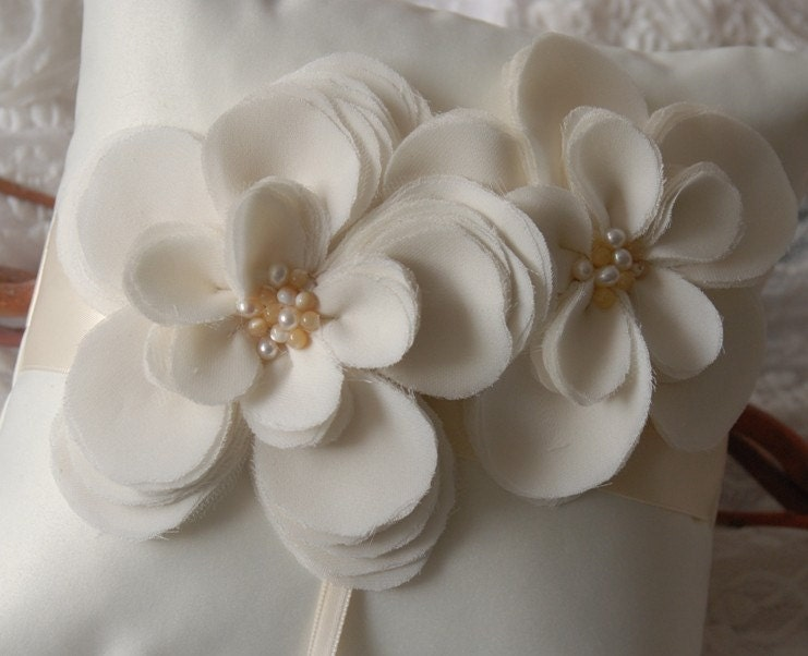 Rococo Collection  Off White Silk Pillow with by YANDEBRIDAL from etsy.com