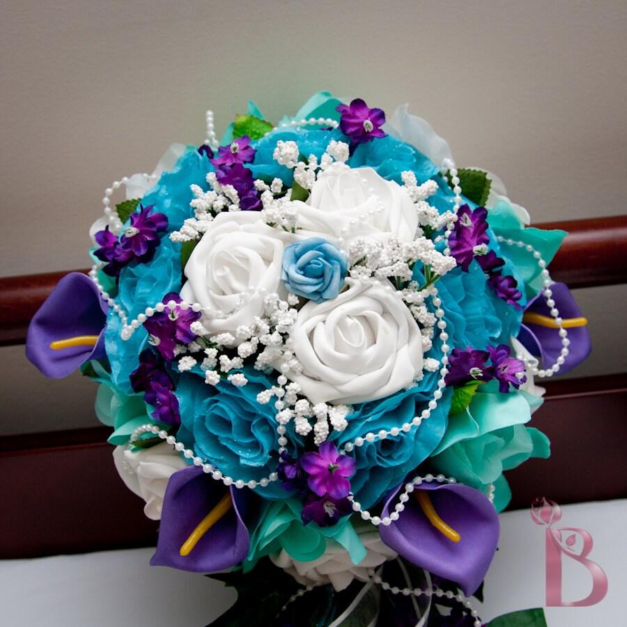 Large Round Bridal Wedding Bouquet In Purple By TheBridalFlower