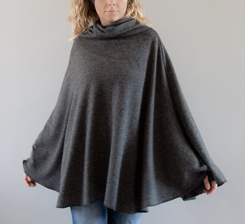 Winter Poncho In Charcoal Grey Women Ponchos Pullover By