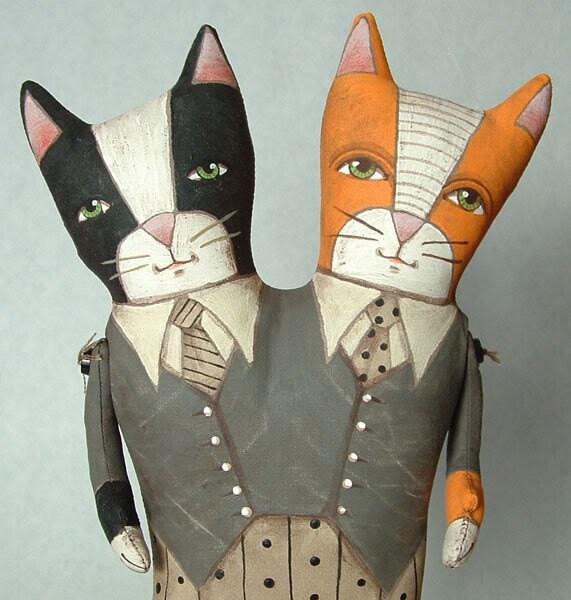 TUX and TABBY -- Contemporary Folk Art Doll