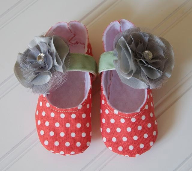 Coral Mary Jane Baby Girl Shoes with Gray Flower and Green Ribbon