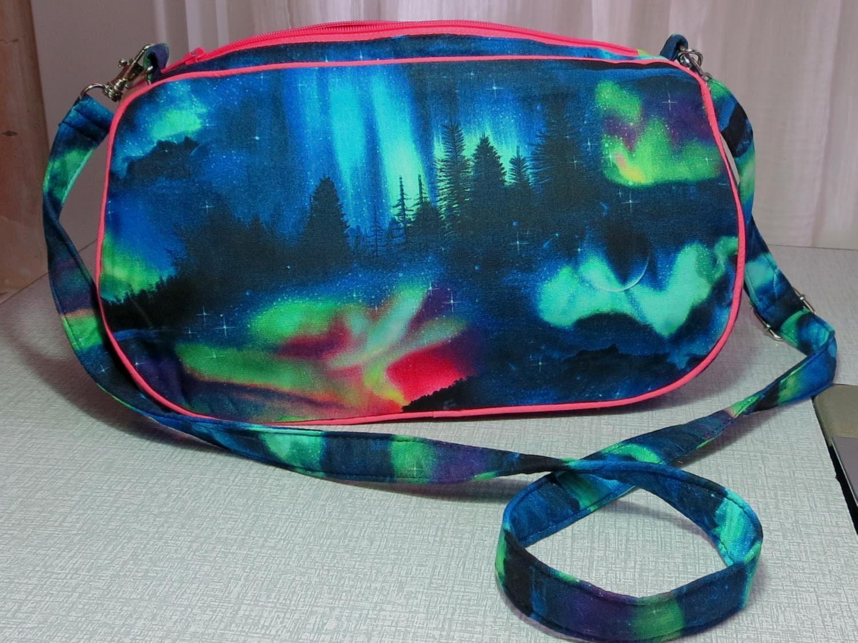 aurora borealis handbag with detachable strap northern lights clutch bag UK seller