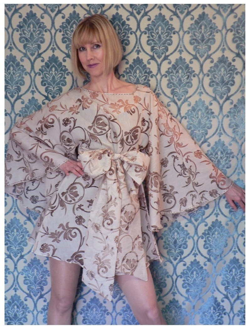 ROMANTIC ART NOUVEAU sheer MINI ANGEL TUNIC DRESS and SLIP in pale mink champagne, XS-S