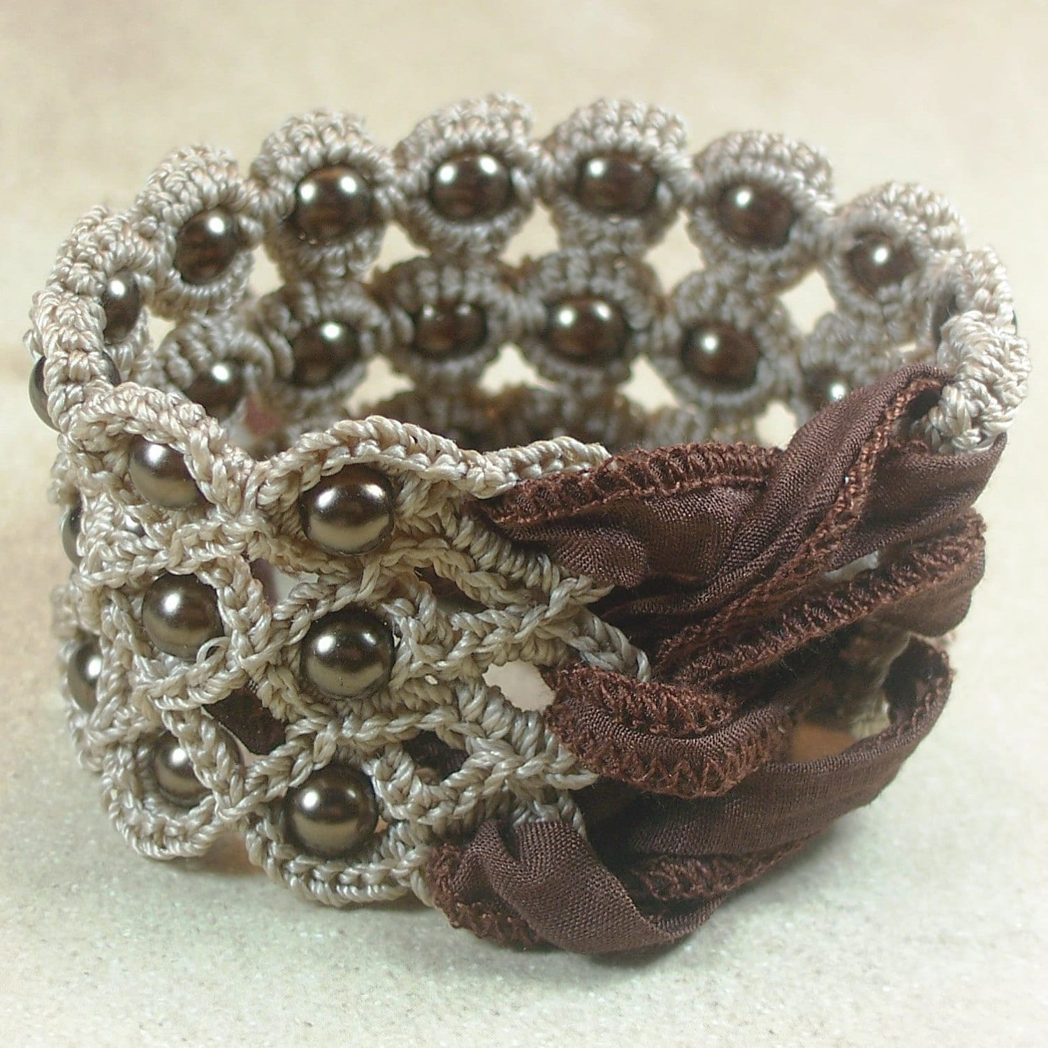 Crochet Jewelry, Bohemian Bracelet or Cuff, Natural brown shades - adjustable