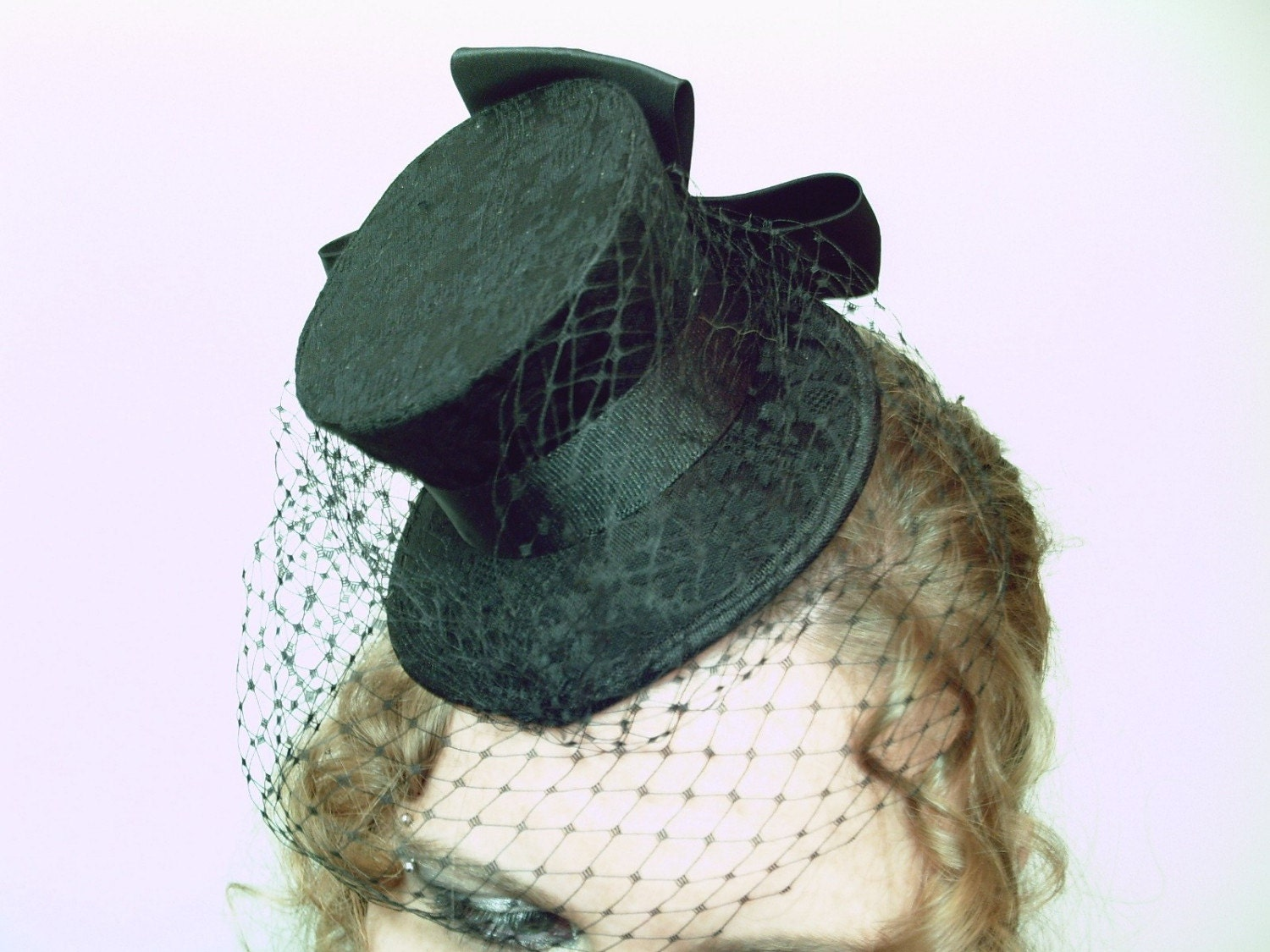 Femme Fatale Black Brocade with Veiling and Bow