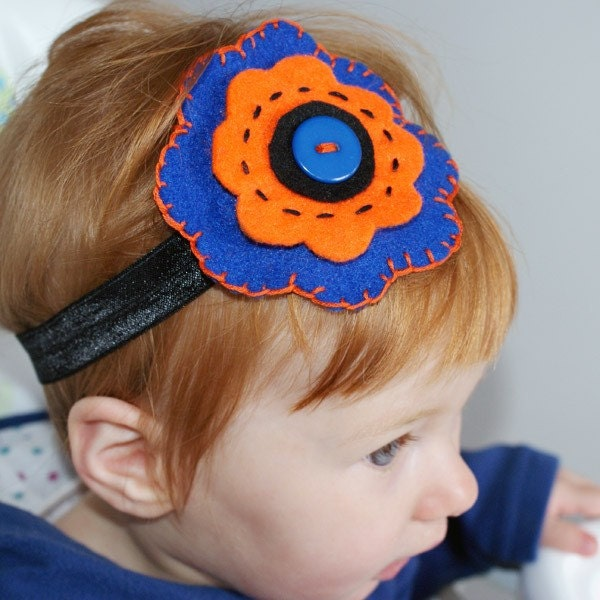 Pumpkin Musse - elastic felt headband in navy n orange - for newborn, little girls n women
