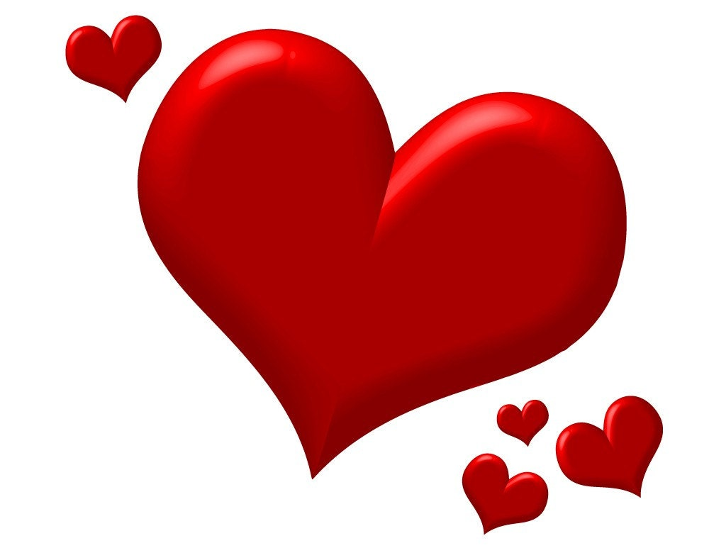Puffy Red Hearts - Clip Art Download
