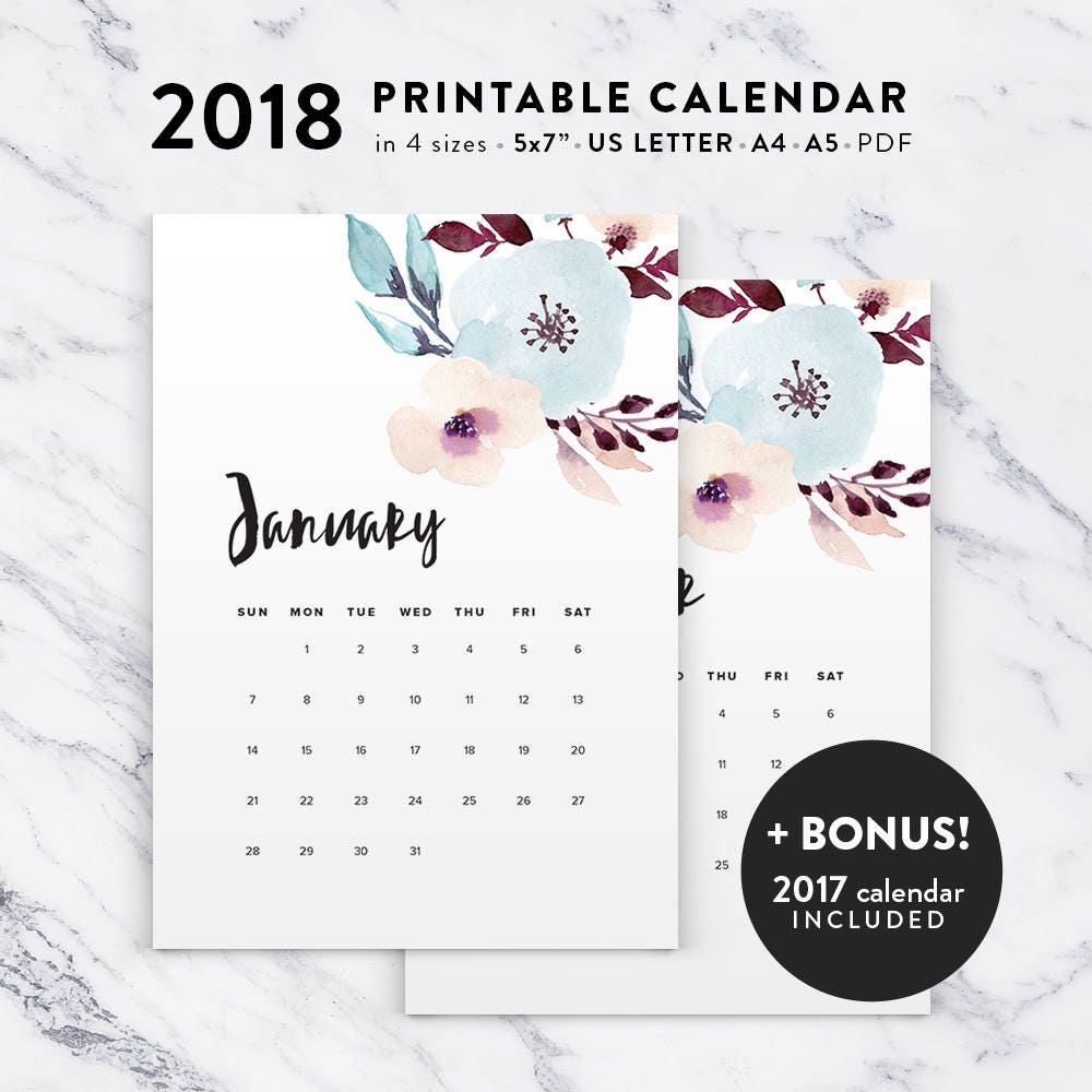 Floral Calendar 2018 Printable Calendar Watercolor Printable