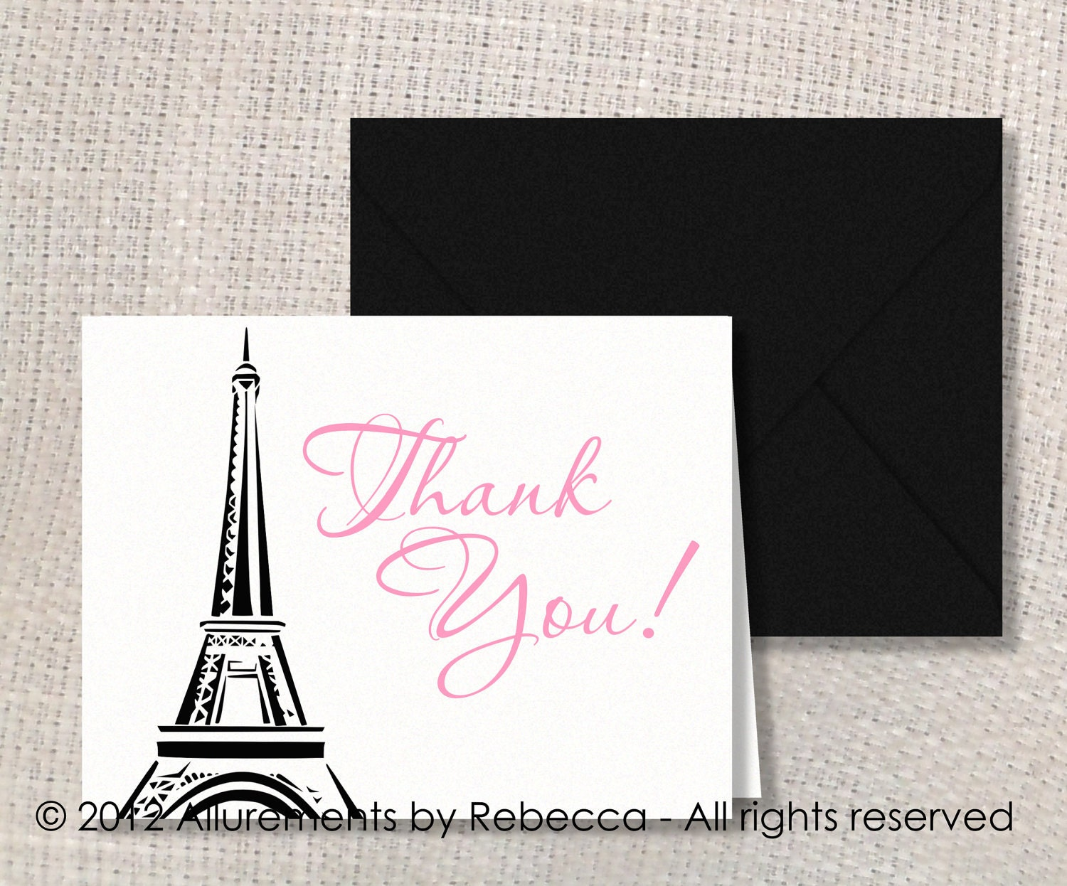 Items similar to paris themed thank you cards choice of for Paris orange card