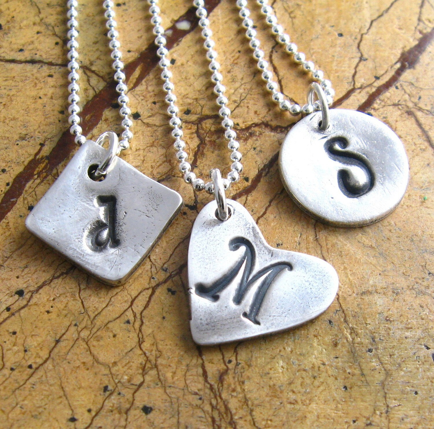 Personalized Silver Initial Necklace PMC Handstamped Fine Silver One Artisan Monogram