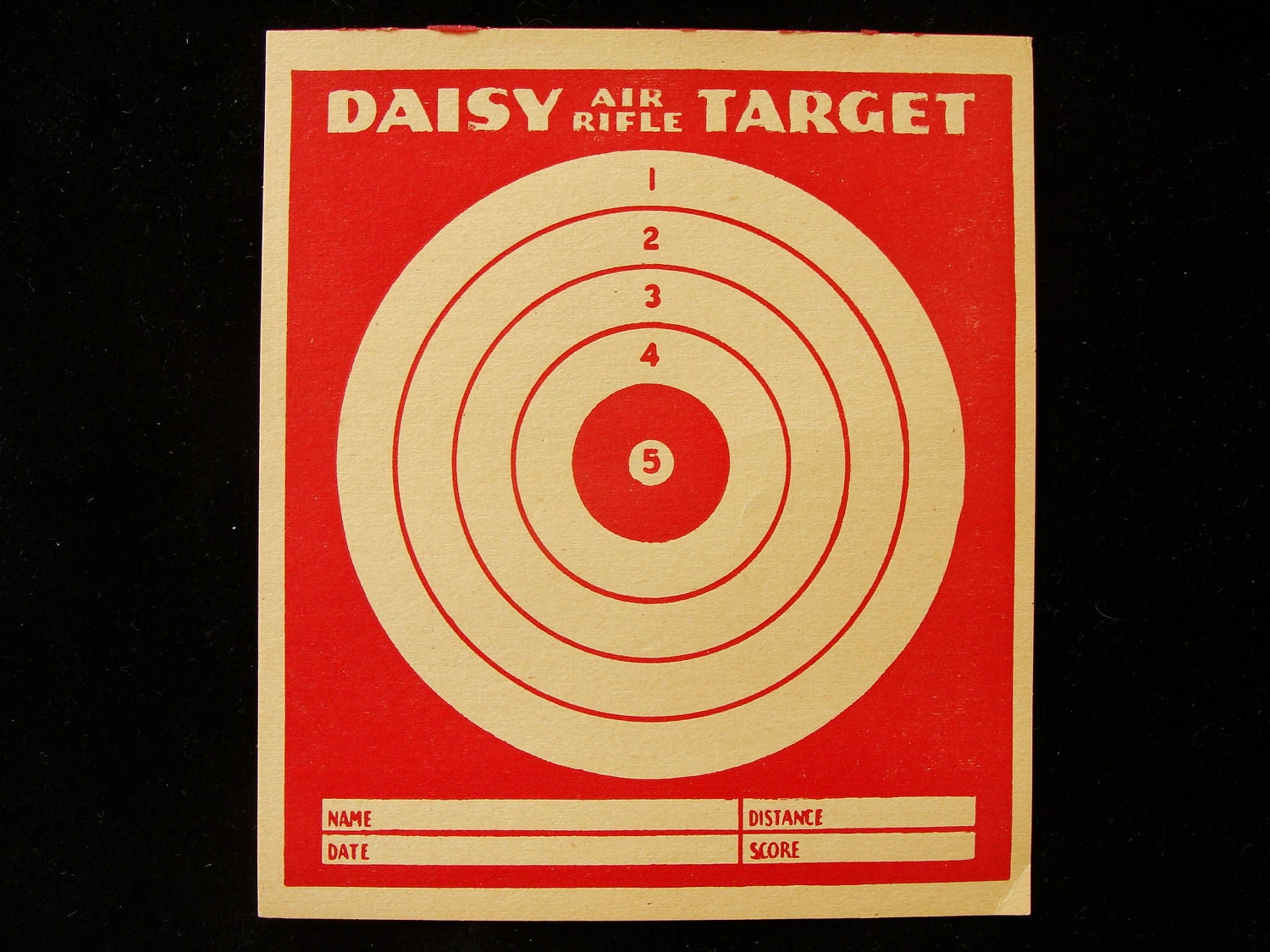 Vintage Daisy Air Rifle Target with Ad on Back by BonesInTheAttic