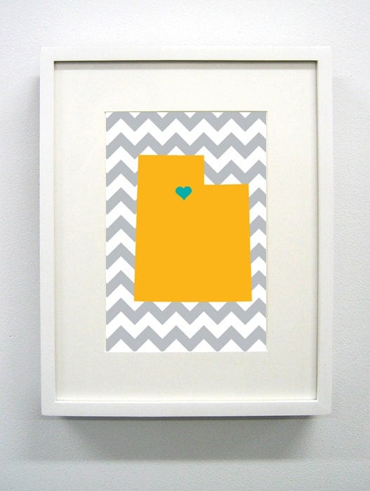 Custom Utah Glicée Print - 8x10 - Pick your City, Background and Color