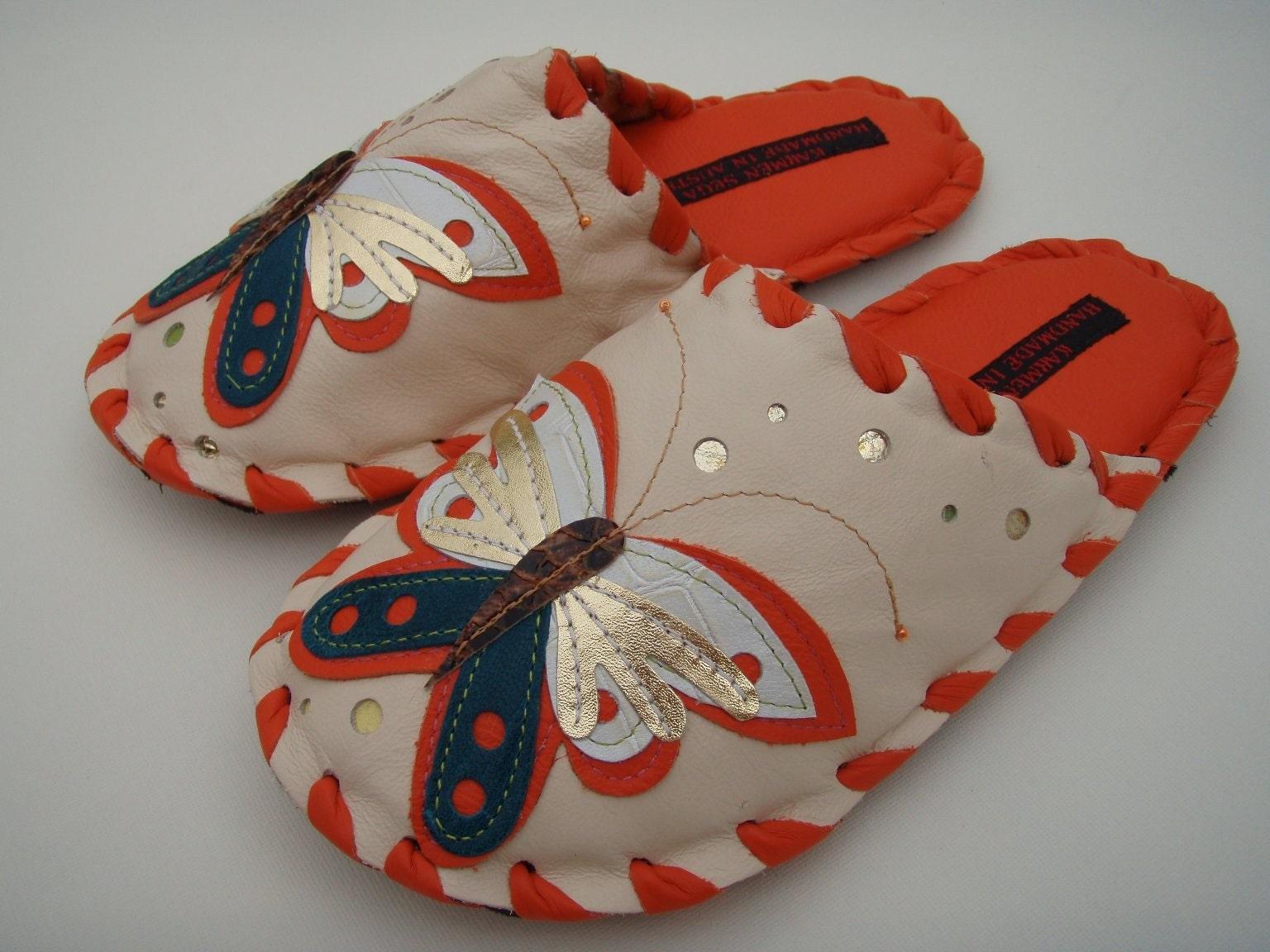 Handmade leather slippers by Karmen Sega - Butterfly in orange