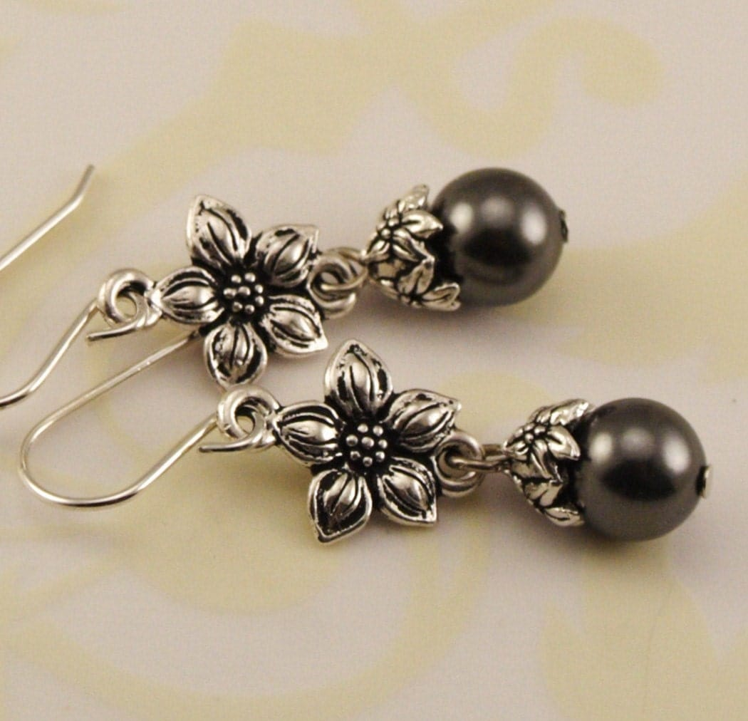 Antique Silver Jasmine Gray Pearl Earrings