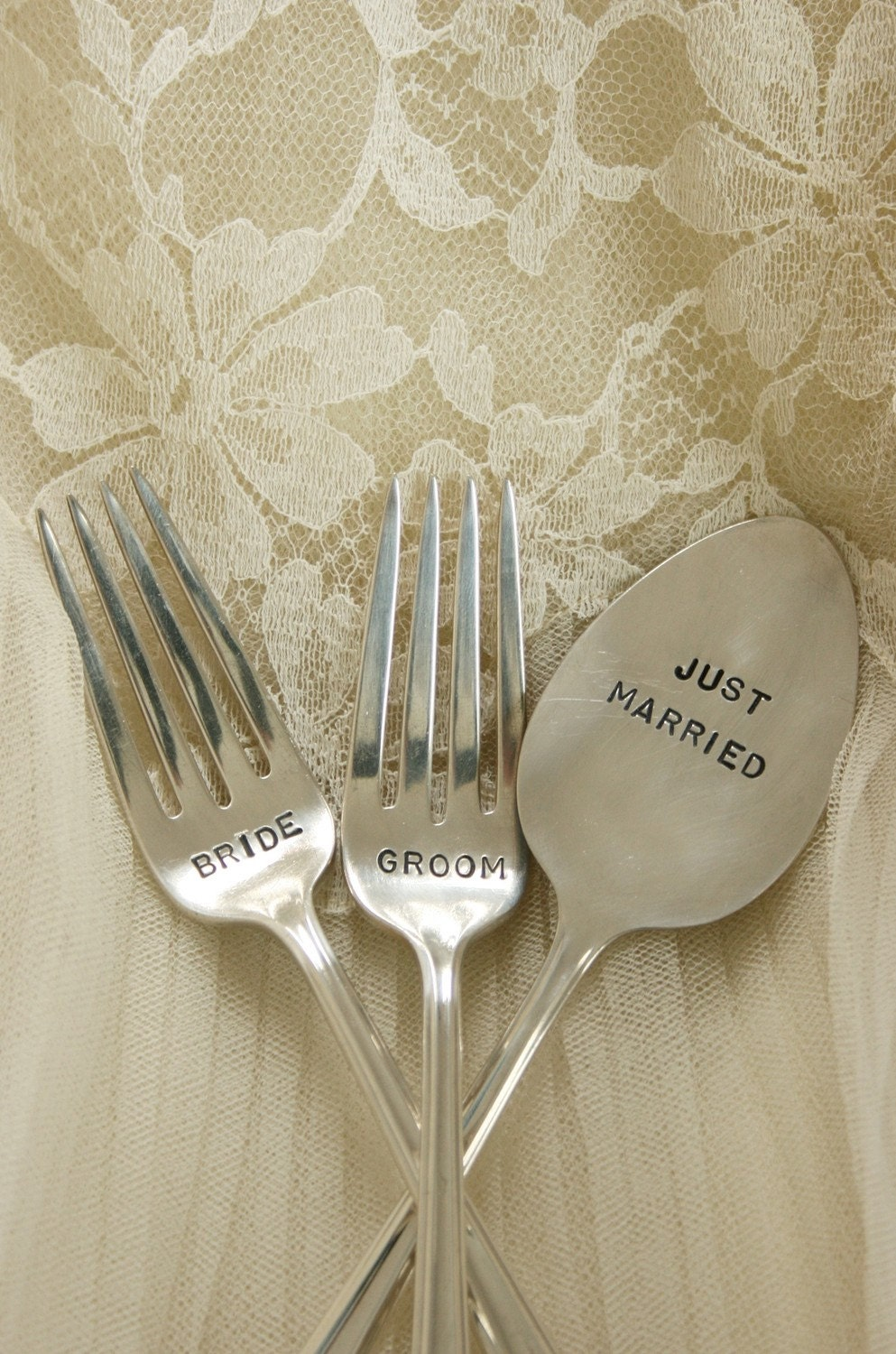 Vintage Bride Groom forks silver plated flatware wedding cake forks with just married cake topper Eternally Yours pattern by beachhouseliving etsy
