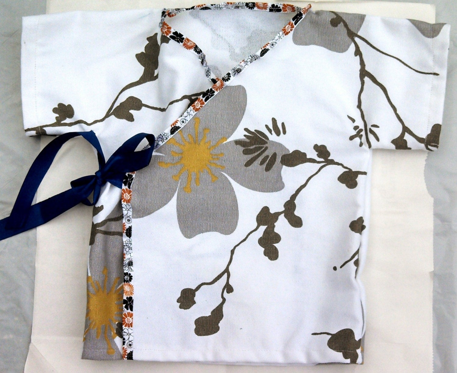 Asian inspired Flowered Infant Wrap Dress newborn 3 month 6 month baby girl Japanese style short sleeve gray yellow white - DawnOctopus