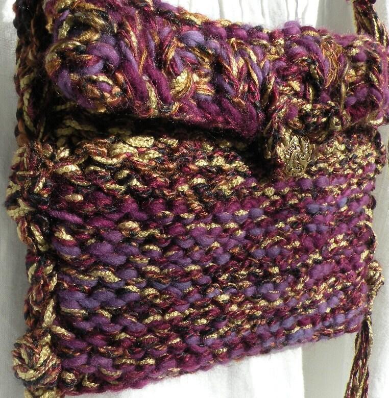 Crochet Wool Bag : Purse handbag Bohemian Bag, hand knit crochet, merino wool hippie ...