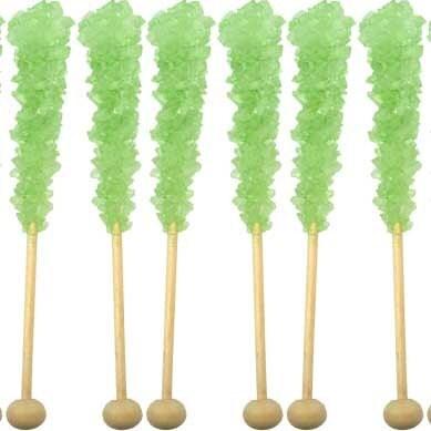 Green Watermelon Rock Candy Swizzle Sticks - JazzyAppleGal
