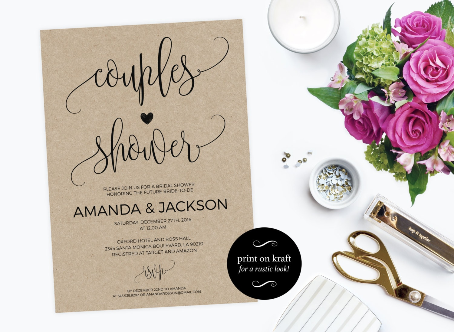 Printable Couples Shower Invitation  Couples shower invitation printable  Wedding Shower Invitation PDF Instant Download  WDHOO82