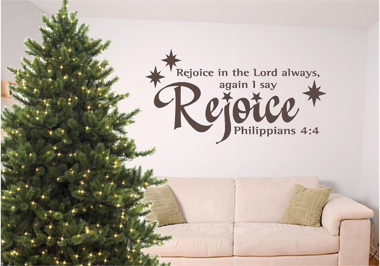 Christmas bible verse wall art Rejoice by SignGuysAndGal on Etsy