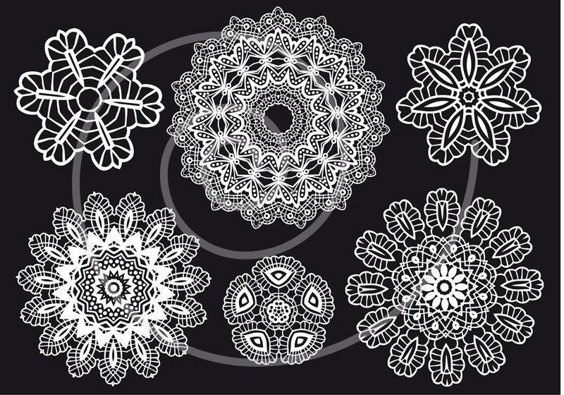 Crochet Patterns Vector : Vintage doily set crochet lace pattern digital by Illustree