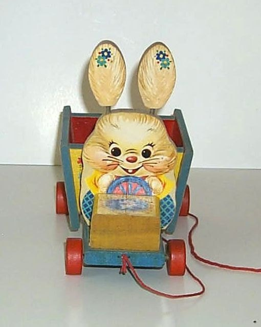 Vintage Fisher Price 306 Bizzy Bunny Cart Easter Pull Toy from 1957-1959