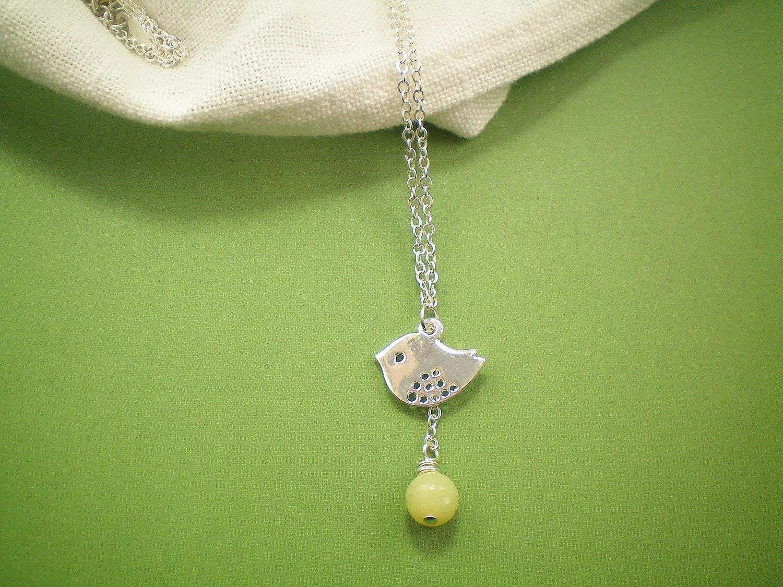 Silver Mod Bird and Lemon Jasper Drop Necklace