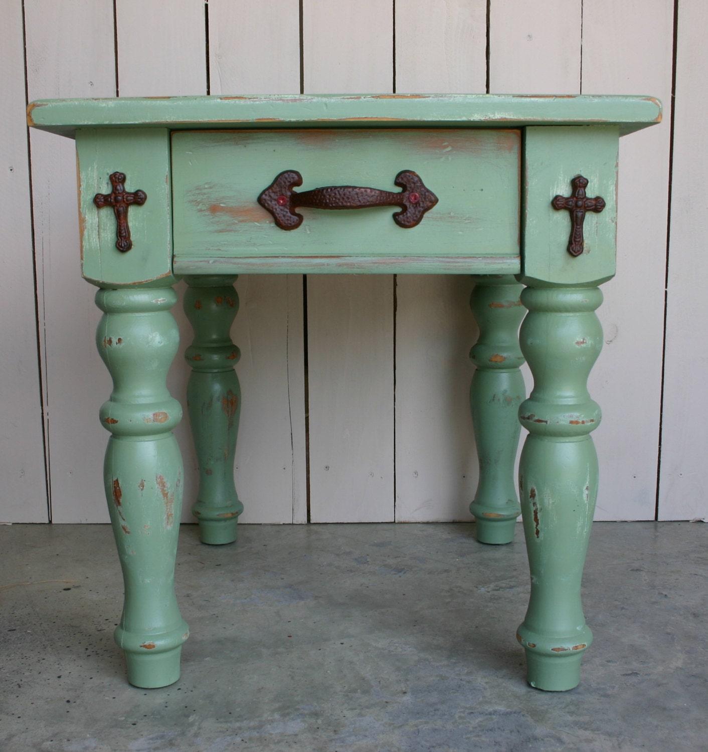unique distressed side table end table farmhouse by. Black Bedroom Furniture Sets. Home Design Ideas