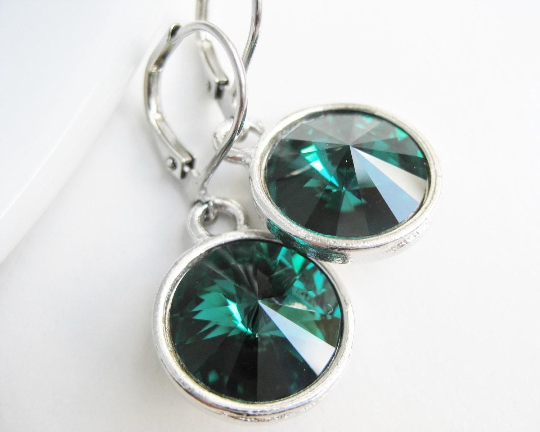 Dark green earrings crystal Swarovski dangle emerald green drops green earring gift shops jewellery handmade