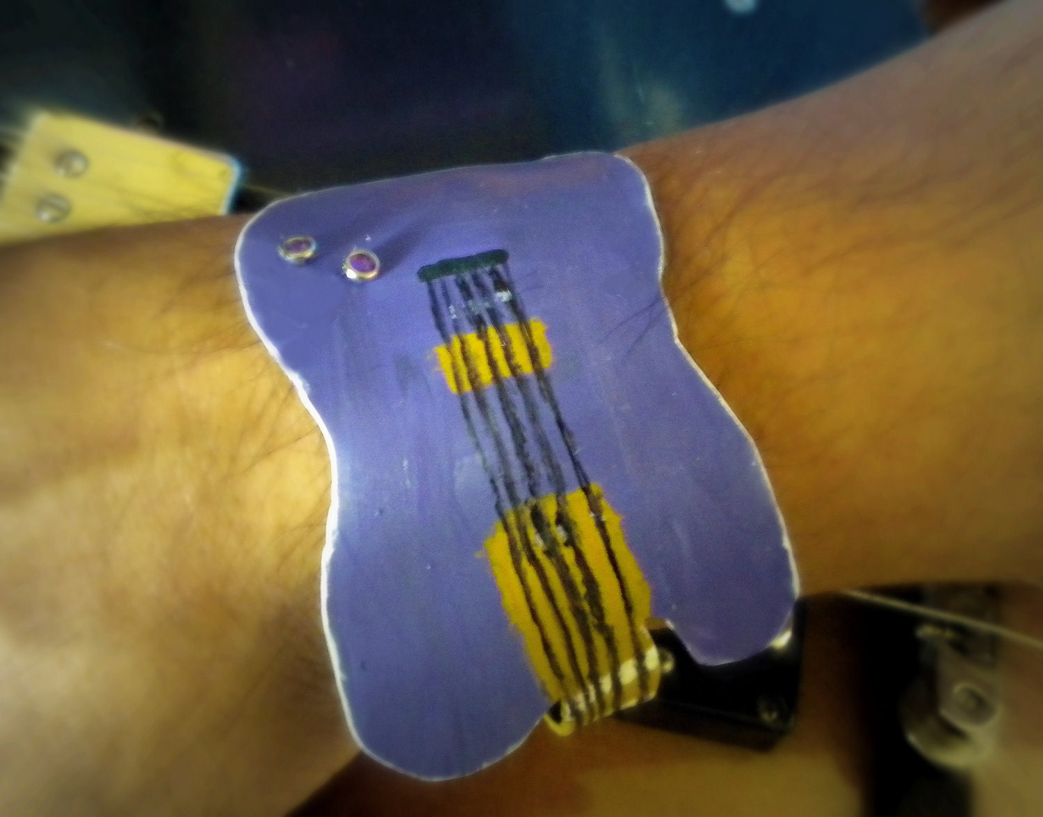Rock Star Unisex Cuff Bracelet Recycled Vinyl Record Guitar Shaped