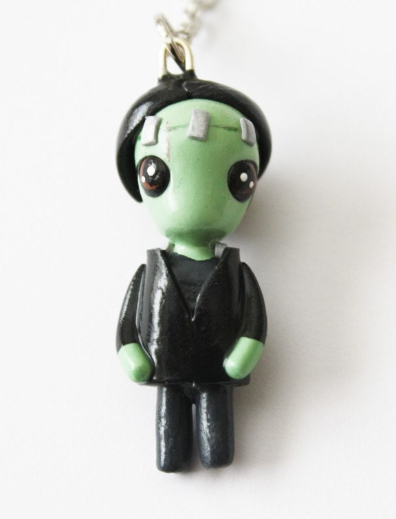 FREE SHIPPING - Frankenstein - Miniature Sculpture - Charm Necklace