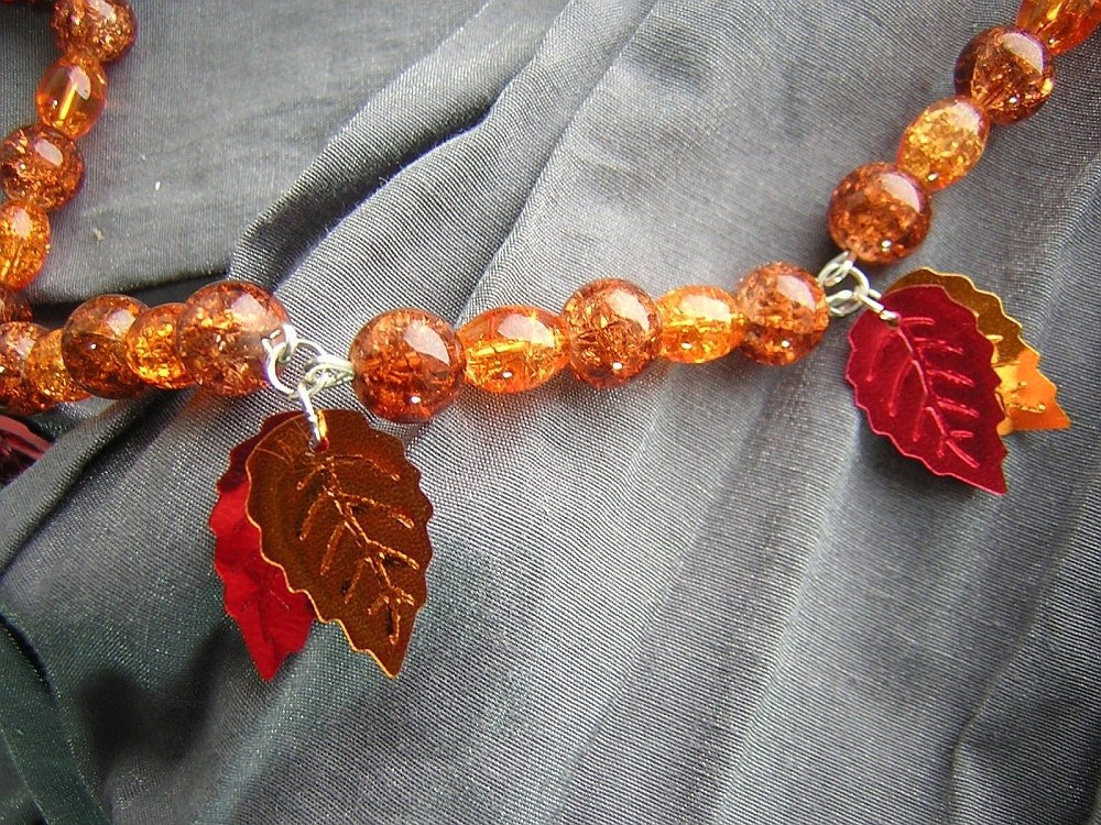 Autumn Leaves Fall Leaf Orange and Brown Beaded Charm Necklace