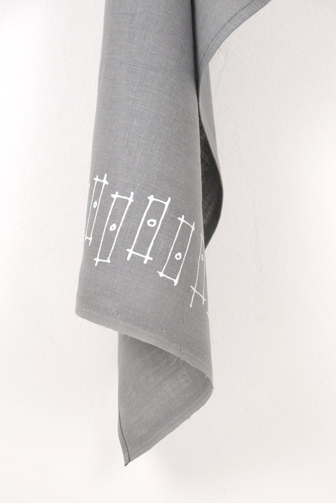 Rectangles, grey linen tea towel, white - SometimesJane