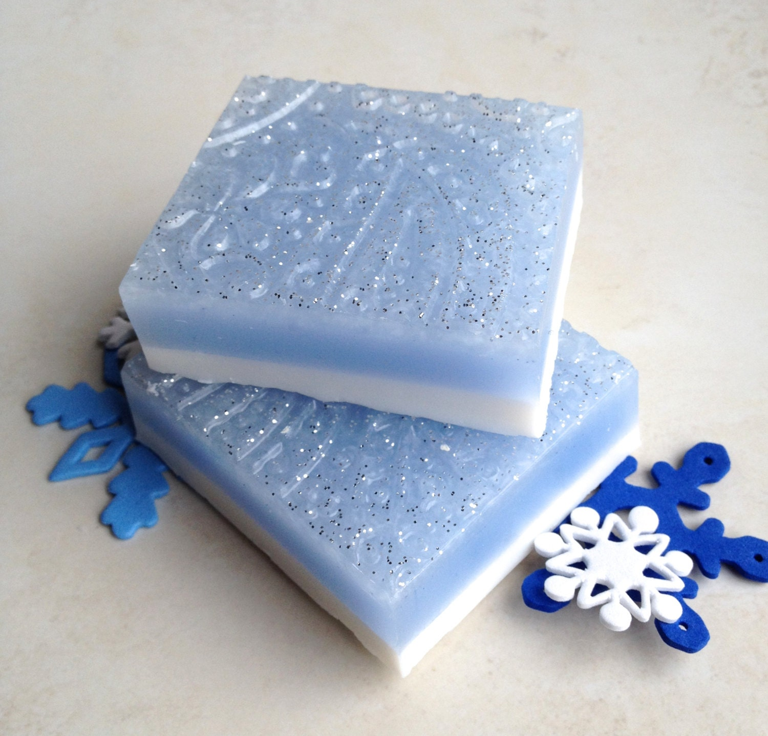 First Frost Winter Soap Bar, Glycerin Soap, Fresh Air, Spring Water Ice, Heliotrope Soap, Holiday Soap, Blue Glitter - LovelyBody