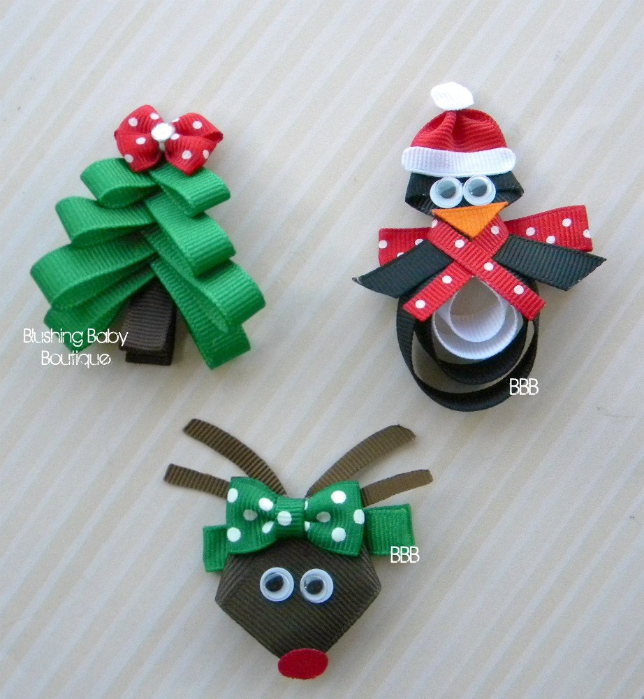 Christmas Trio- Set of 3 Christmas Hair Clips- O Christmas Tree- Paulie the Penguin- Santa's Little Reindeer